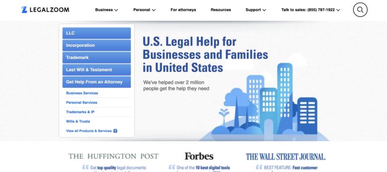 LegalZoom homepage