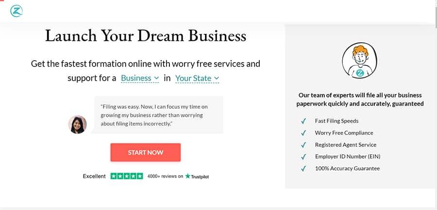 zenbusiness review - zenbusiness website image