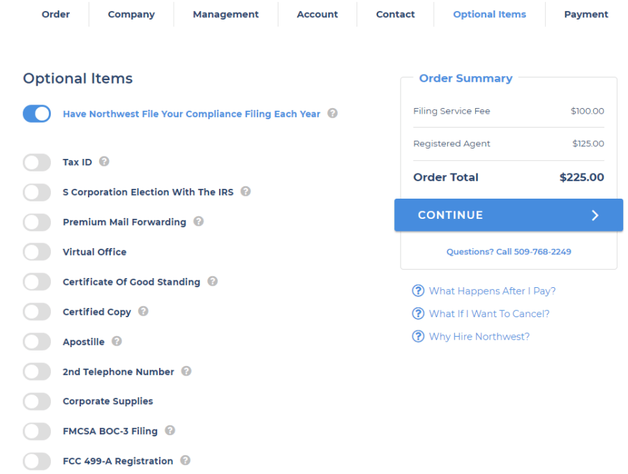 Northwest-Registered-Agents-optional-items